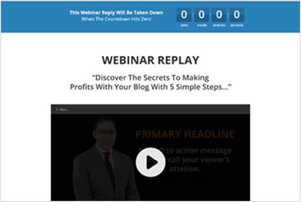 eventfunnels webinar replay page